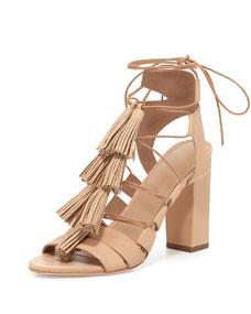 Luz Tassel Lace-Up Leather Sandal, Wheat
