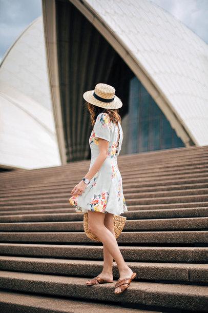 beverly ville blogger dress sunglasses bag hat summer dress straw hat  raffia bag sandals mini dress ed17aa89165