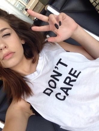 t-shirt white top nail polish dont care tank top style black summer outfits blouse jeans jacket hair bow makeupbymandy24