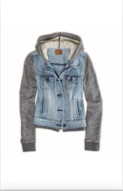 jacket denim jacket sleeves hoodie denim jacket sweater denim denimhoodie warm jacket hoodie sleeves blue blue denim grey grey hoodie sweater style fashion warm pinterest buttons button up pockets vest cute want!!!! jeans jeans striped shirt jean jackets hooded denim jacket coat urban gray hoodie top denim jacket grey sweater american eagle