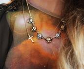 jewels,cross,necklace,bear,vintage,hipster