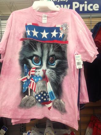 t-shirt pink pink t-shirt cat shirt america