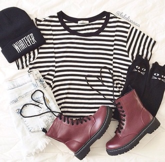 combat boots hipster stripes drmartens fashion top socks