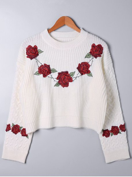 sweater fashion style trendy roses embroidered long sleeves