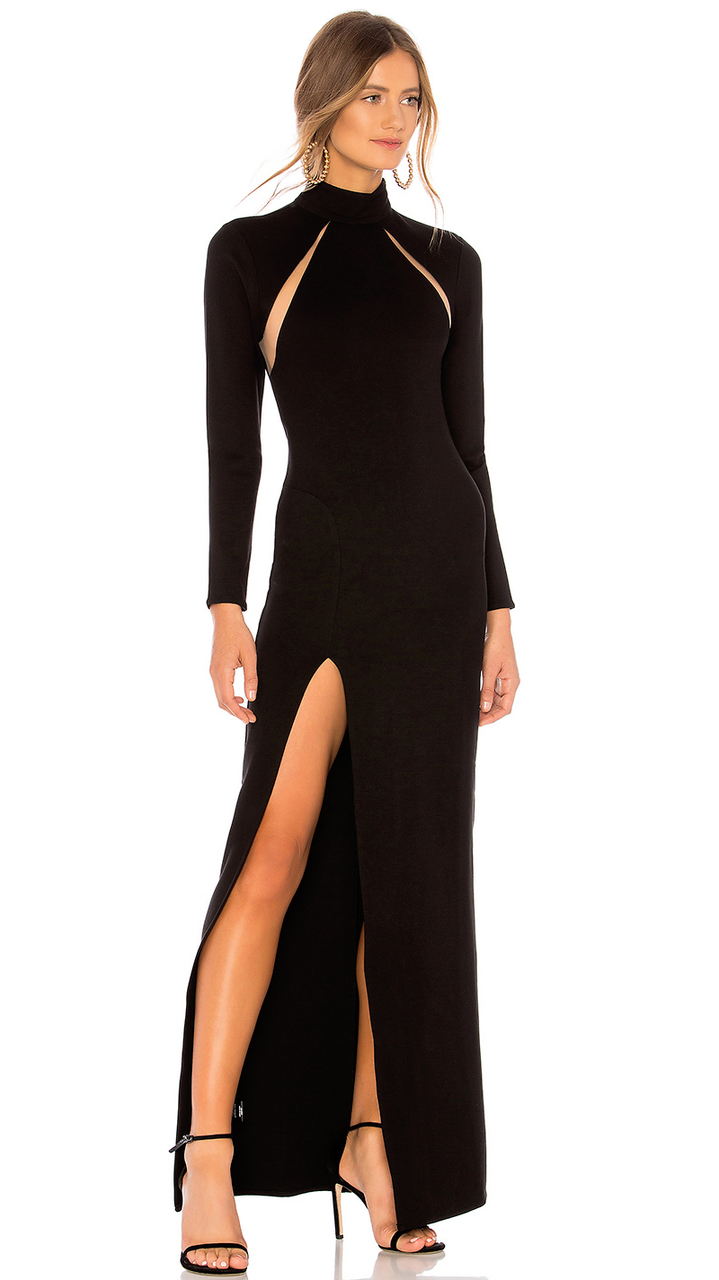 Long Sleeve Slit Maxi Bandage Dress Black