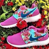 shoes,nike roshe run,nike,pink,floral,roshes,rose,purple,blue,run,workout,customized,roshe runs