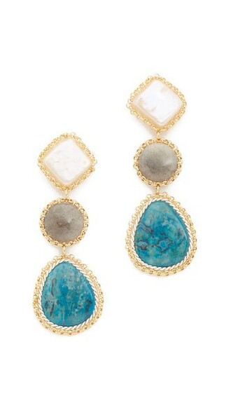 earrings gold blue jewels
