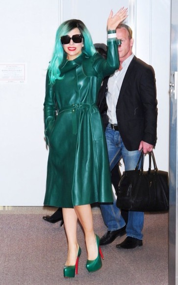 lady gaga gaga coat green coats long coats amazing colorful
