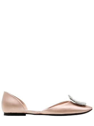 flats satin nude shoes