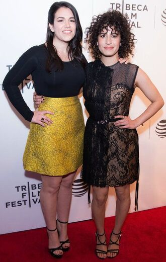 dress yellow skirt ilana glazer abbi jacobson celebrity style celebrity mini dress short dress black dress black lace dress lace dress skirt high waisted skirt top black top long sleeves sandals sandal heels high heel sandals black sandals red carpet