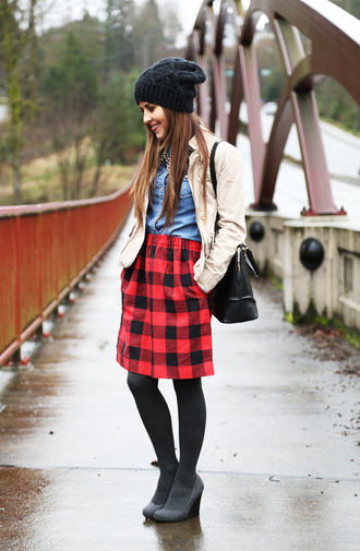 dress corilynn blogger skirt flannel knitted beanie top tights shoes jacket hat bag jewels opaque tights