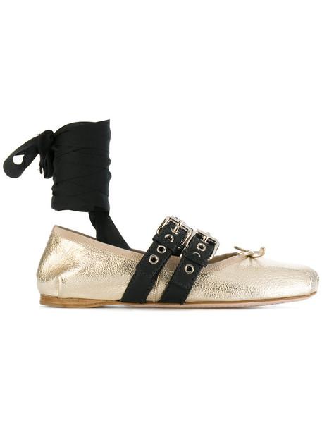 Miu Miu metallic women leather grey shoes