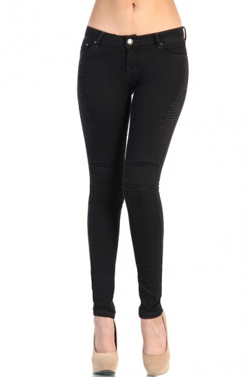 LoveMelrose.com From Harry & Molly | Side Stitch Skinny Black Denim Jean