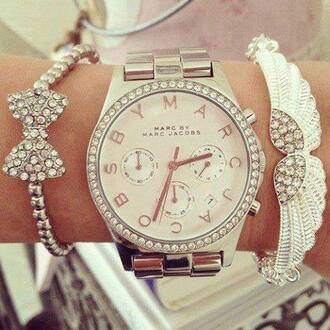 jewels marc by marc jacobs marc jacobs marc jacobs watch silver white dimonds cute watch