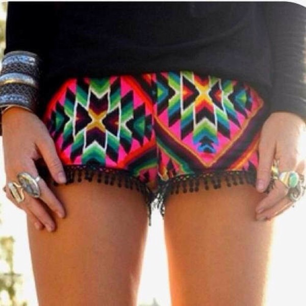 shorts pom poms aztec mexican summer