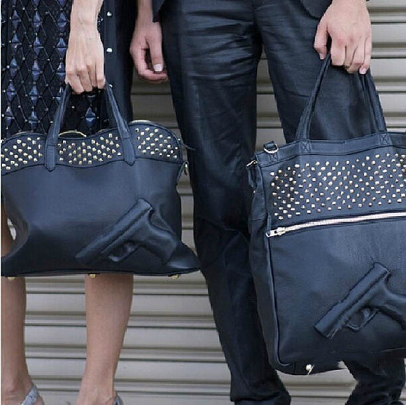 bag gun emobossed vlieger &vandam rivet shoulder handbage