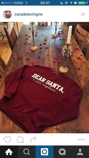 Sweater Santaclaus Cara Delevingne Shirt Christmas Sweater