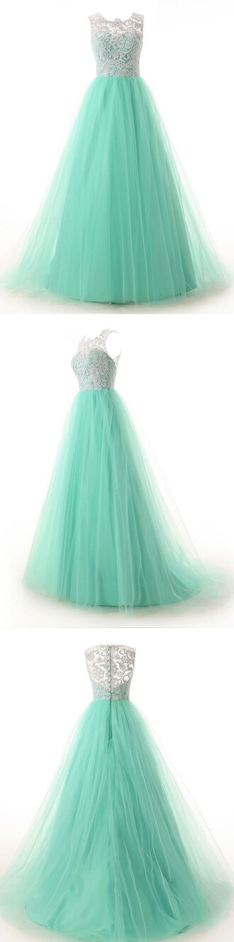 dress mint green bridesmaid dress homecoming dress prom dress evening dress party  dress white lace bridemaid dress
