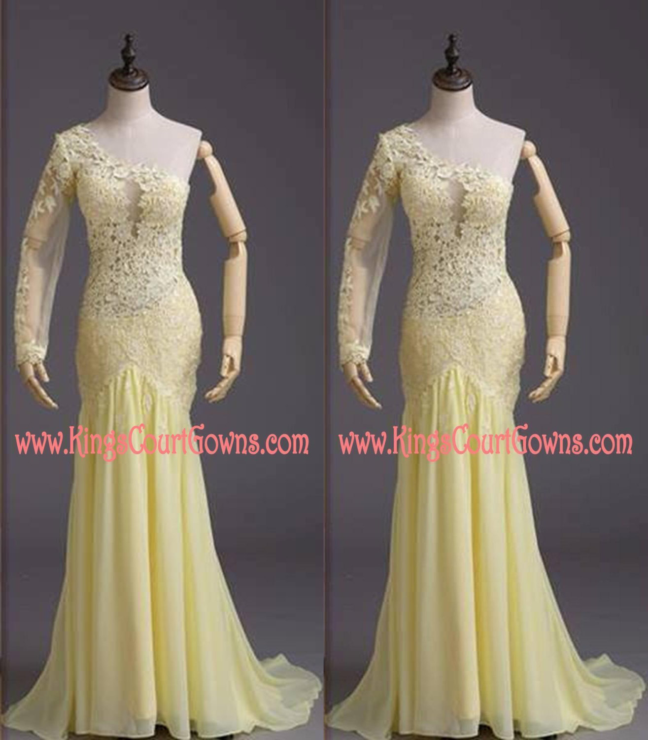 Replica one shoulder long sleeve yellow lace chiffon prom evening pageant dress gown