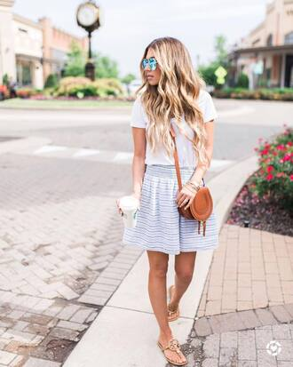skirt tumblr mini skirt blue skirt stripes striped skirt bag brown bag sandals flat sandals t-shirt white t-shirt shoes
