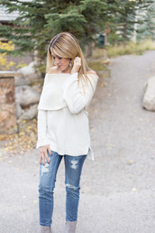 eatpraywearlove,blogger,sweater,jeans,shoes,off the shoulder,white sweater,ripped jeans,long sleeves