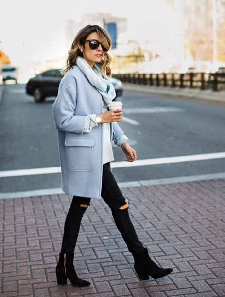 coat ripped jeans black jeans blue coat clothe shoes outfit fashion blouse black heels heel boots blogger black ripped jeans