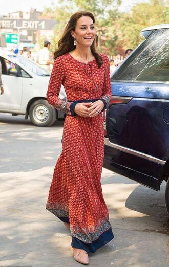 dress maxi dress kate middleton spring dress long sleeve dress red dress royalty