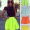 Neon mini skirts