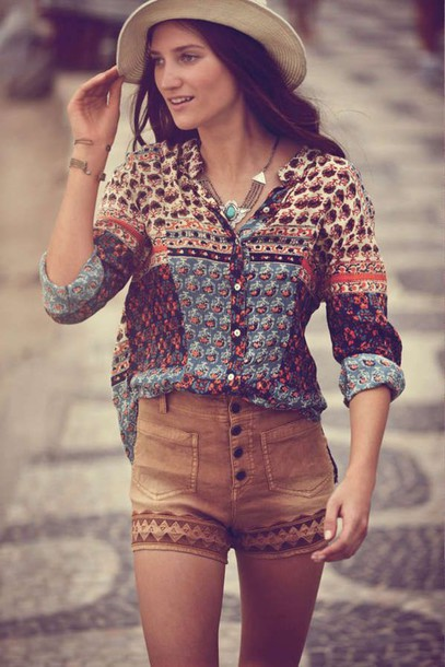 blouse boho shorts top free people shirt pattern pants brown design summer summer outfits love cute beautiful style tumblr tumblre tumblr outfit tumblr girl tumblr shorts diy fashion