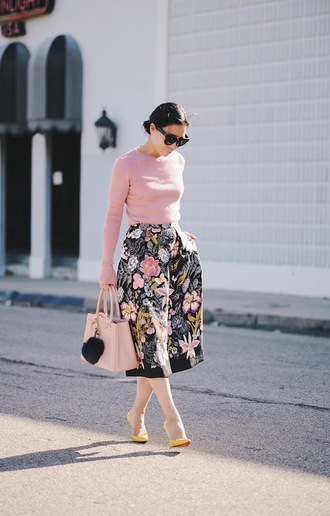 hallie daily blogger sweater top skirt bag sunglasses