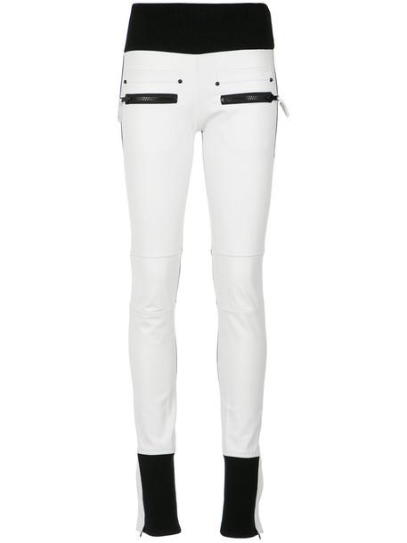 women spandex leather white pants