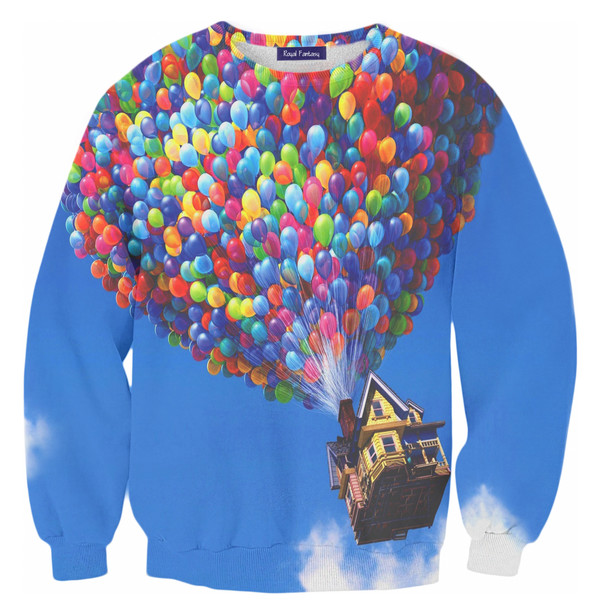 blouse swag yolo baloons blue sky sky blue sweater printed sweater full print clothing alohafromdeer mr gugu
