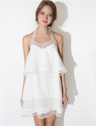 dress white white dress tiered dress cute summer summer dress spring dress sleeveless sheer pixie market pixie market girl