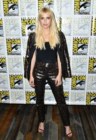 pants emma roberts top jacket sandals high heels sandal heels comic con