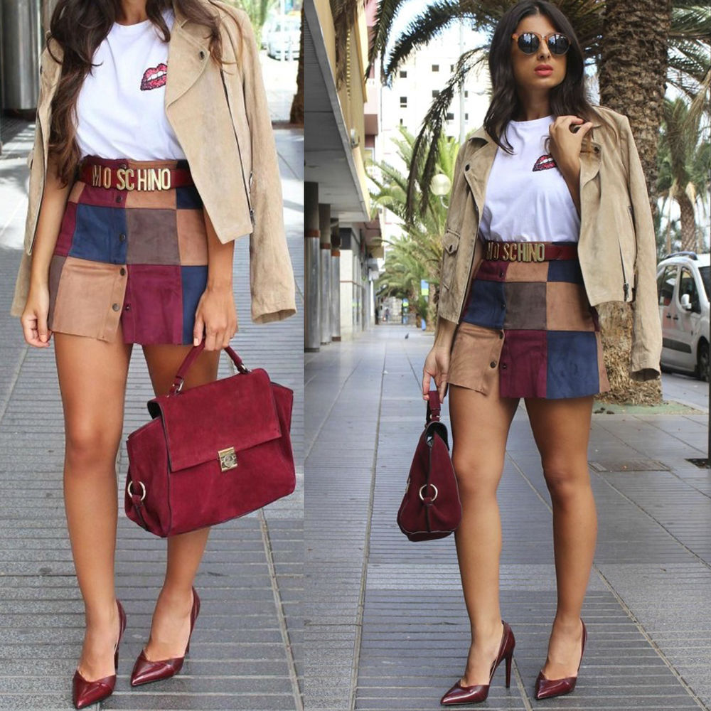 ZARA patchwork mini skirt faux suede snaps muticolor M 10 38 bloggers