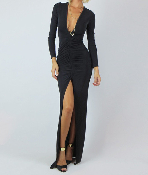 sexy maxi dress tight maxi dress long sleeve maxi dress long sleeved maxi dress ruched maxi dress maxi dress black maxi dress little black dress little black dress elegant dresses classy dresses high slit dress high slit maxi dress deep v neck dress deep v neck maxi dress deep v neck high slit dress deep v neck high slit maxi dress
