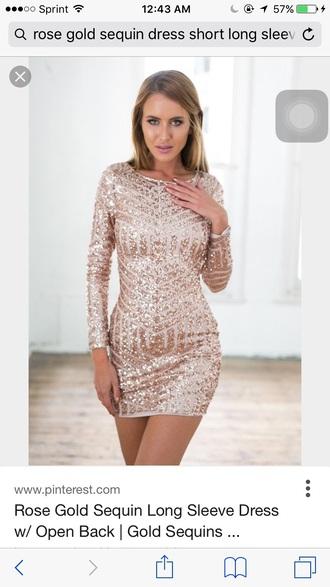 dress rose gold mini dress long sleeves geometric sequin party dress sequins sequin dress geometric gold gold sequins bodycon dress bodycon