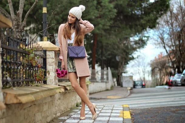rana demir blogger coat skirt shoes bag hat jewels