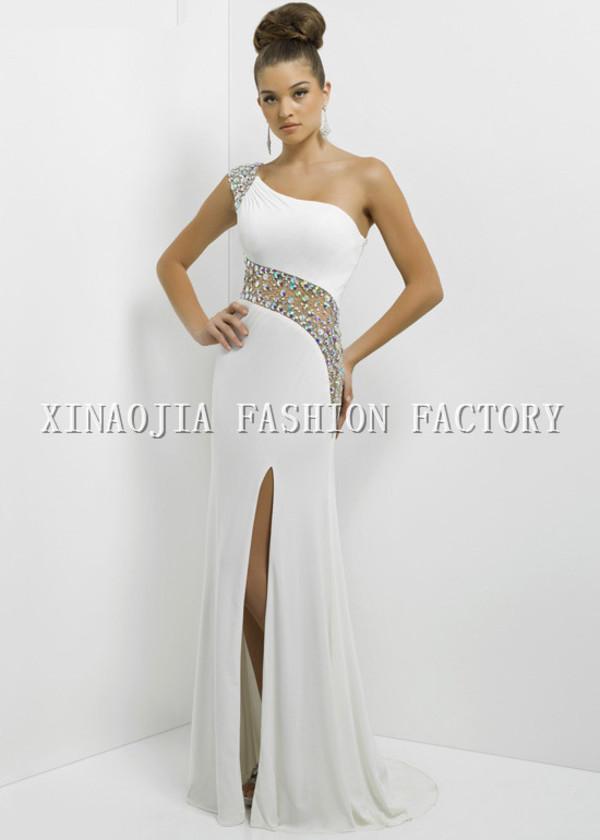 white prom dress one shoulder evening dresses sheath dresses 2014 long evening dresses