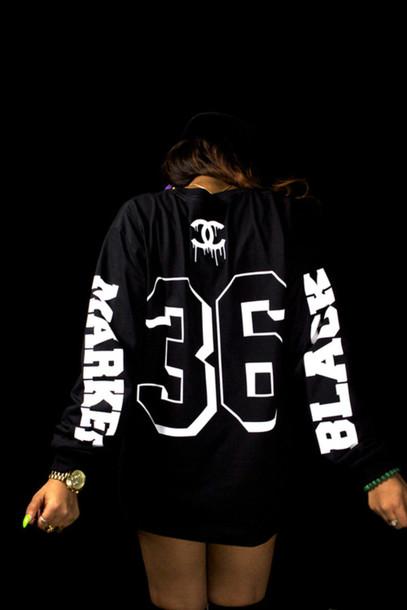 sweater jersey black white chanel shirt urban style fashion cool long sleeves t-shirt jacket chanel black 36