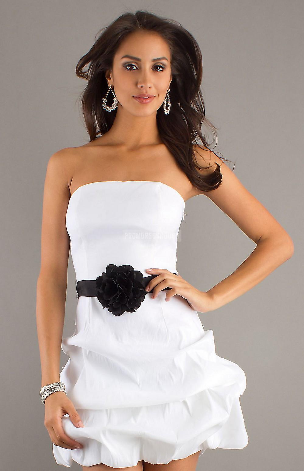 Flower Sash Ball Gown Short Length Strapless Taffeta Cocktail Dress - Promdresshouse.com