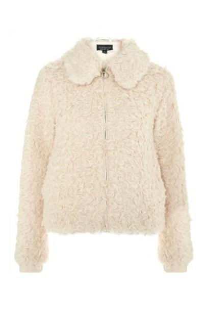 Topshop jacket shearling jacket cream
