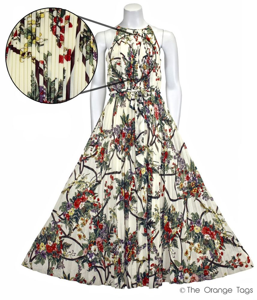 WOMENS CHIFFON PLEATED FLORAL PRINT SLEEVELESS MAXI LADIES SUMMER EVENING DRESS | eBay