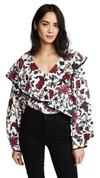 Diane Von Furstenberg blouse long ruffle top