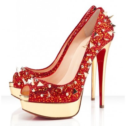 Replica Cheap Christian Louboutin Red Bottom Heels Very Mix 150mm Red Strass Spiked Peep Toe Pumps