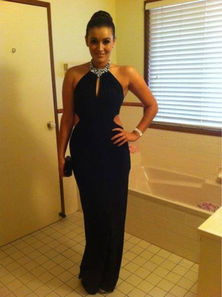 dress long dress prom black cut-out