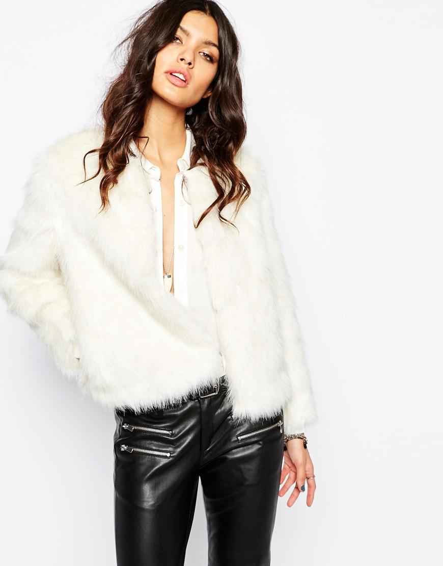 Winter White Faux Fur 70'S Glam Coat at asos.com