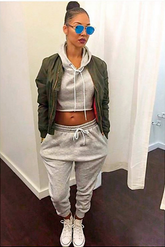 coat bomber jacket cropped sweater joggers pants top