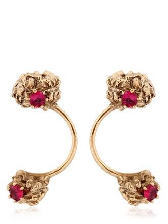 open earrings gold red jewels