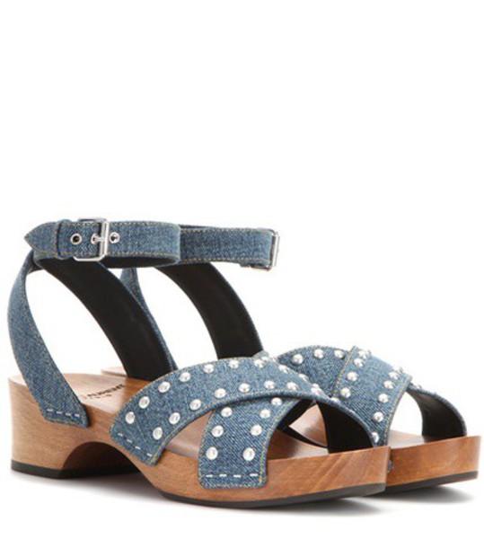 Saint Laurent denim embellished embellished denim sandals blue shoes